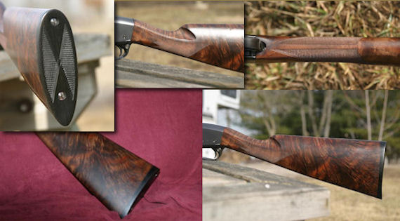 Remington 28 gauge, solid rib, 6 lbs. 4 ozs. Black walnut flame with feathering, ebony butt plate, mullered borders, 26 1.p.i. Rust blued steel.